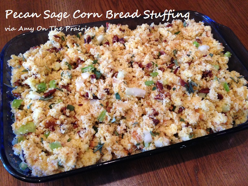 Pecan Sage Corn Bread Stuffing | Amy On The Prairie